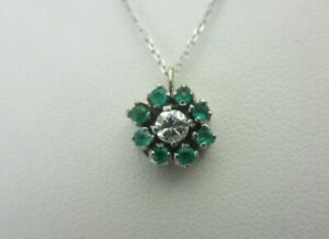 Vintage 18k White Gold Emerald and Diamond Pendant Necklace 0.54 ct TW Chain