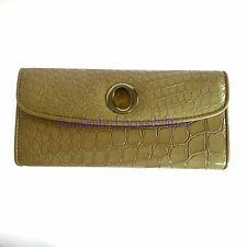 OROTON Raisa Patent Slim Clutch Leather Wallet Purse Taupe New Tags Box