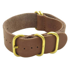 StrapsCo Leather NATO Watch Band Strap with 5 Bronze Rings