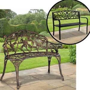 Metal Garden Bench Outdoor Seat Cast Iron Park Patio 2/3-Seater Lounger Backrest