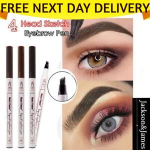 Microblading Tattoo Eyebrow 3D liquid Ink Pen waterproof 4 fork pencil brow UK