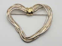 Vintage Premier Designs Heart Brooch Pin Silver Gold Tone Strings of Love Wire