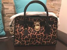 MICHAEL KORS HAMILTON FRENCH BINDING CHEETAH BLACK SATCHEL BAG SAC 30F5GHVS2H