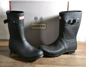 Hunter Women's Black Matte Rubber Rain Boots Original Short 10 MED WFS1000RMA