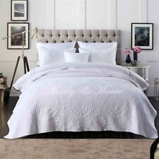 Baroque White Quilted Coverlet Set by Macey & Moore | 4pcs | Fits King | Queen