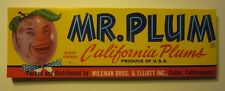 Wholesale Lot of 100 Old Vintage MR. PLUM - California Plum LABELS - Cutler CA.