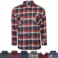 MENS LUMBERJACK PRINT FLANNEL BRUSHED COTTON SHIRTS CHECKED WORKER WINTER TOPS