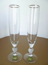 Set 2 Marquis by Waterford Crystal Gold Rim Frosted Heart Champagne Flute Glass