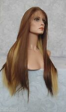 """3"""" Lace Front Long Straight Brown/Blonde High Heat Full Synthetic Wig - WM41"""