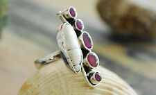 Silberring Rubin Perle Schmetterling 57 Handarbeit Breit Massiv Silber Ring Rot