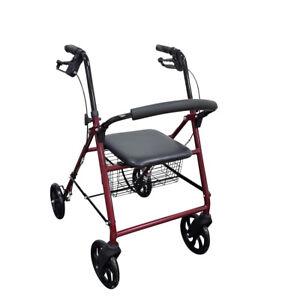 """NEW Deluxe Folding Rollator Walker with 8"""" Wheels, Soft Seat, Backrest, Basket"""