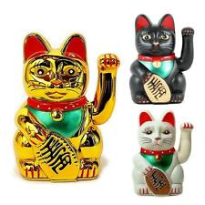 """XL BECKONING CAT 8"""" Large Wealth Lucky Waving Kitty Maneki Neko Gold White Black"""