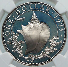 1973 BAHAMAS Elizabeth II CONCH Vintage OLD Proof Silver Dollar Coin NGC i85984