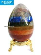 Chakra Seven Healing Crystal Gemstone Egg on Gold Metal Stand