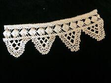 Antique Crochet Fragment Coarse Primitive Flounce Costume Design Salvage Cotton
