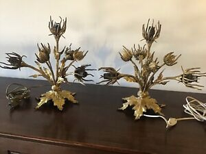 RARE PAIR OF ANTIQUE FRENCH THISTLES GILDED BRONZE 1910' TABLE LAMP