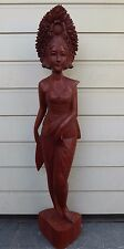 RARE XXL ART DECO BALI WOOD CARVED PATINATED EBONY SCULPTURE HIGH QUALITY 97 CM