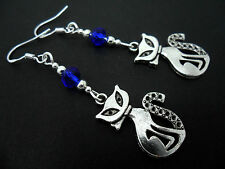 A PAIR OF TIBETAN SILVER CAT EARRINGS WITH 925 SOLID SILVER HOOKS. NEW..