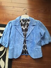 Karen Kane Bolero Blue Suede Leather Jacket Size M