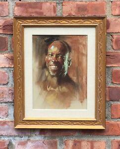 Original Pastel Portrait By Arizona & Calgary Canada Artist Harley Brown Signed