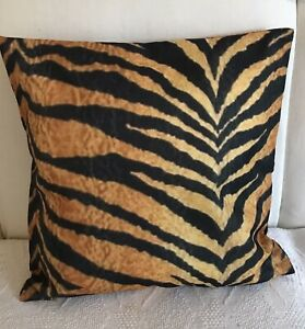 """TIGER Print,Cushion Cover. Brown. Orange. Black. 18x18""""Double Sided."""
