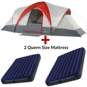 Dome Tents Shelter Camping Sleep 9 People With 2 Queen Air Mattresses Hiking