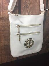 MKF White Gold tone Medallion Cross Body Messenger Bag
