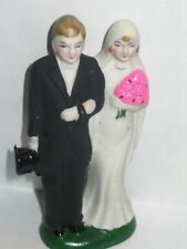 """Antique Cake Topper Bride Groom Hot Pink Flowers Occupied Japan Bisque 4"""" Tall"""