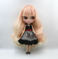 """12"""" Blythe Doll From factory Nude Doll Pink white double color bang hair 4 eyes"""