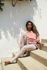NWT FREE PEOPLE Sz S LAYERED IN LACE STRETCH LEGGINGS PANTS IN BLUSH