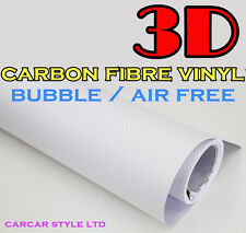 【WHITE 750mm x 3000mm AIR/BUBBLE Free】3D CARBON FIBRE Vehicle Wrap Vinyl Sticker