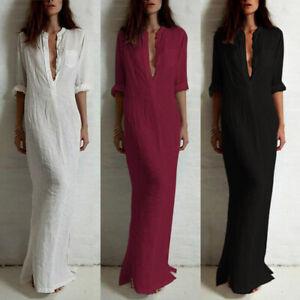 Women Dress Plus Size Vintage Long Maxi Dress Cotton Linen Casual Shirt Dresses
