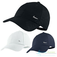 Nike Metal Swoosh Mens Sports Peak Cap Baseball Hat Logo Adjustable Running Golf