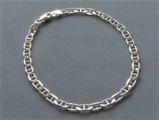 "10"" Sterling Silver Ankle Bracelet- Marina Link- 4mm- Italy-925"