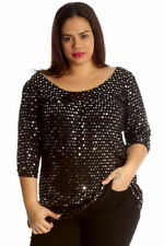 Party 3/4 Sleeve Tops & Shirts for Women with Glitter
