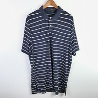 Ralph Lauren RLX Mens Golf Polo Shirt Size Large Blue White Striped Short Sleeve