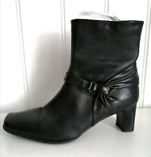 CLARKS Ankle Boots Size 5 Black Leather Medium heel