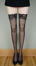 SPANDEX STAY UP LACE TOP SHEER Stockings 4 COLORS O/S & PLUS
