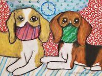Beagle in Quarantine ORIGINAL Painting 9x12 Dog Collectible Signed Artist KSams
