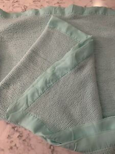 "Baby Morgan Cozy Crib Acrylic Blanket AQUA Nylon Binding Trim 36""x44"" Teal"