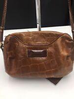 Franco Godi Italian Leather Brown Croc Handbag Vintage Removable Strap Zip Cross