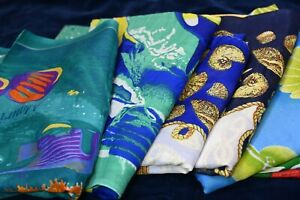 Collection of 7 ladies large rectangular scarves, see description