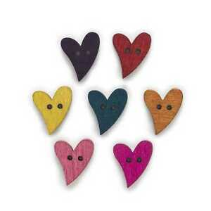 50pcs Heart Shape Wood Buttons for Sewing Scrapbooking Crafts Making Decor 21mm
