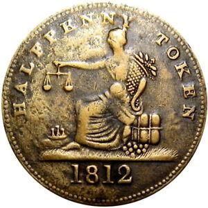 1812 Lower Canada Tiffin Halfpenny Token Breton 960