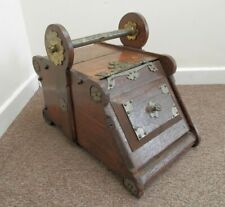 Antique (French) Solid Wood & Brass Coal Scuttle Fireside Box Liner & Shovel