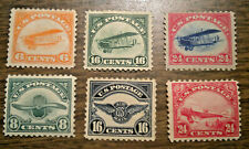 US Air Mail Stamps: # C1, 2, 3, 4, 5 & C 6 - OG  H