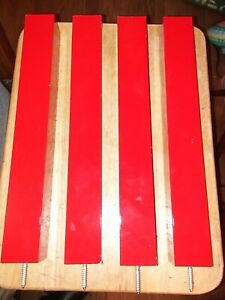 Set of Four Wood Table/Furniture Legs, Glossy, 16 × 2 × 2, in RED, Flash on/off.
