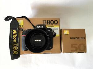 Used Nikon d800 Camera + Nikon 50mm f1.4G AF-S Nikkor lens