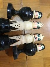 Vintage Carving Estate Chess Set Painted Faces
