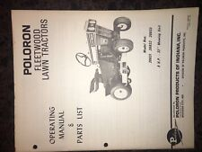 Rare Poloron tractor owners manual,PARTS LIST MANUAL Fleetwood 20831,20832,20833